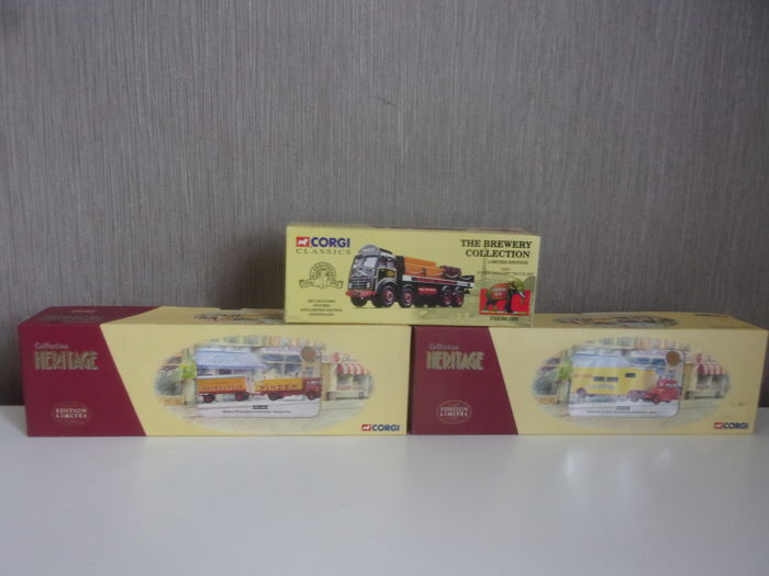 Corgi - Scale 1/50 - Collection héritage - Lot of 3 advertising models - Pinder/Jean Richard/Fremlins: Bedford, Renault & foden delivery truck