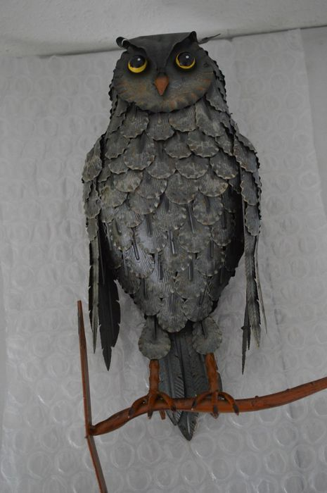 50 cm - Large Iron Owl - top