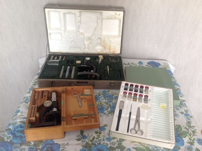 Three boxes with microscope (Maxwolf and Vendorama) and accessories.
