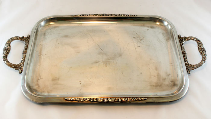 Antique large silver plate tray, Sheffield early 20th century