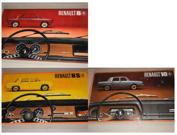 Renault 8 s, Renault 8, Renault 10 - Lot of 3 original posters from 1968 to 1971- Format 62 x 98 cm