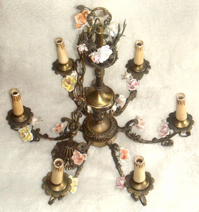Antique six lights solid brass chandelier decorated with multicolored porcelain flowers and brass leaves - Meissen style