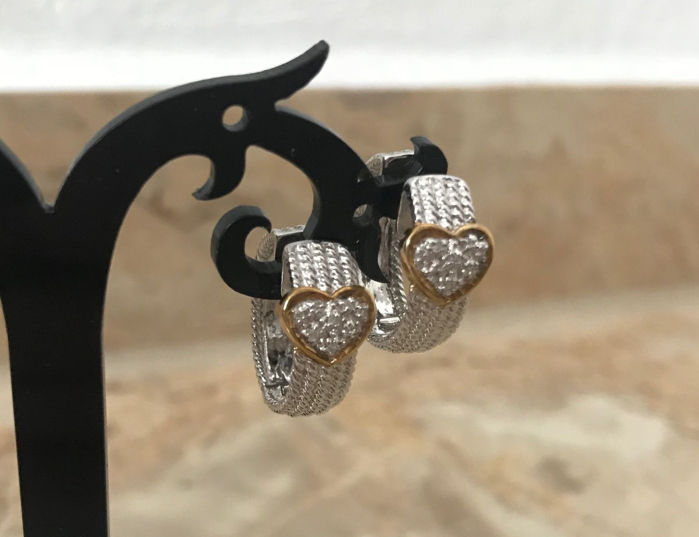 Earrings, creole earrings made of 333 / 8 kt gold, white gold and yellow gold with diamonds