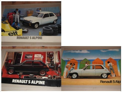 Renault 5  Alpine - Lot of  3 original posters from 1976 - Format 62 x 98 cm