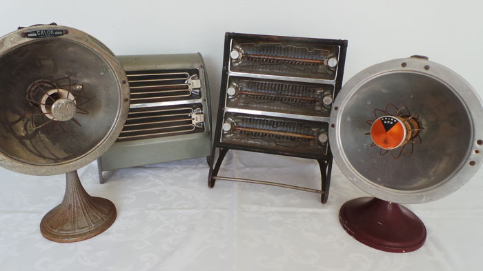Four nostalgic vintage electric heaters (Inventum and Calor), mid 20th century