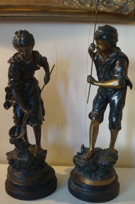 Ernest Rancoulet (1870-1915) - Angler and his assistant - a pair of spelter figurines - early 20th century