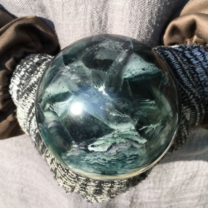 Natural Green Fluorite crystal sphere - 93 mm - 1370 gm