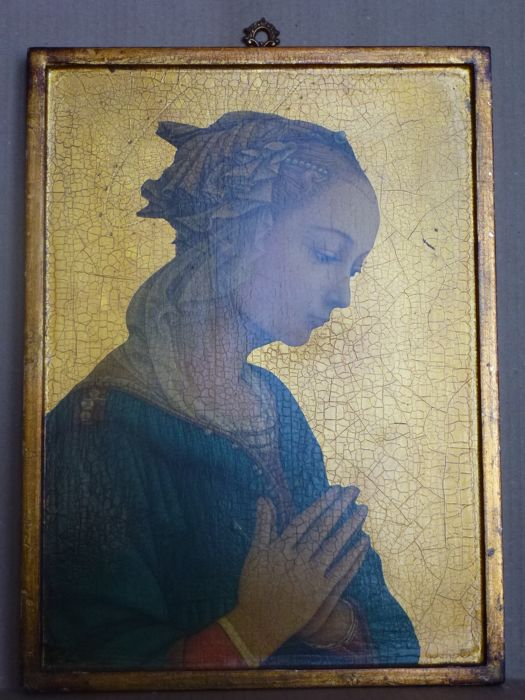 "Large copy of Filippo Lippi painting ""La Vergine delle Rocce"" on a wooden panel - The painting is made using a procedure to transfer the image on wood - The whole panel, except the image, is hand painted with gold 23 k."
