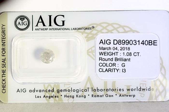 AIG Sealed Diamond  - 1.08 ct -G , I3