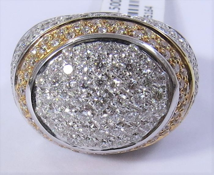 Ring pave' white and yellow gold 18k / 750 with diamonds ct 3,60 f-g color vs2 brilliant cut