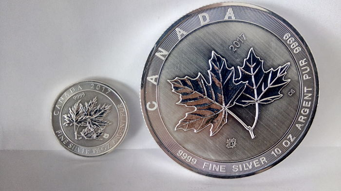 Canada - 8 en 50 Dollars 2017 'Maple Leaf' (2 munten) - 1½ en 10 oz zilver