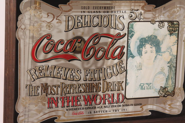 Nice big coca cola mirror from the 1970s in a wooden frame