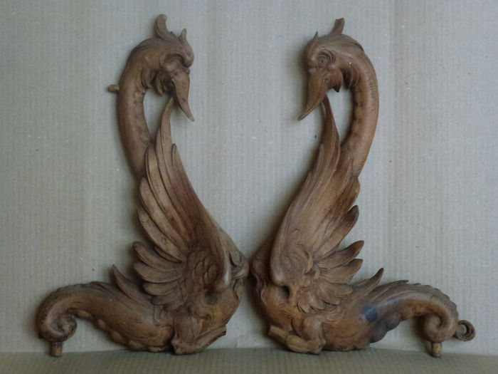 Wooden Art Nouveau decorations - two nice swan carvings