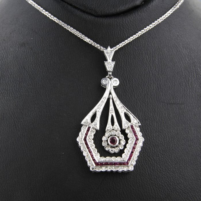 Necklace with Pendant - White gold - Diamond and Ruby