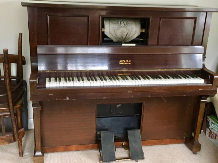 English Aeolian Duo Art Reproducing Pianola w 40 collectible Rolls