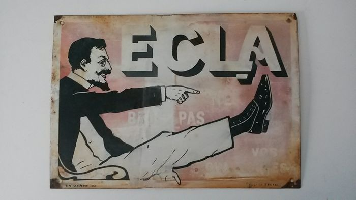 ECLA enamelled metal sign - 1930s