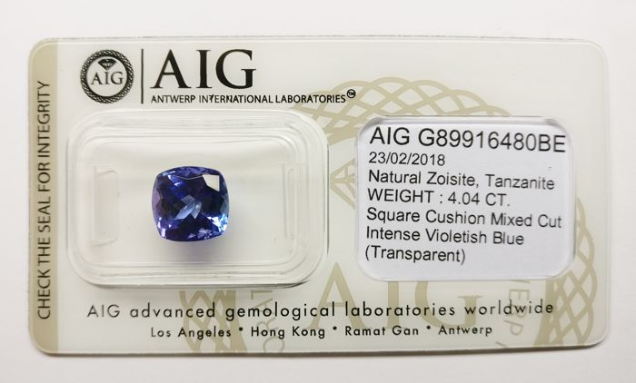 Tanzanite Intense Violetish Blue 4.04 ct