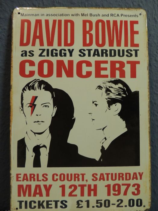 Stunning - David Bowie 2016 - Big Metal Memorial Sign - As Ziggy Stardust - In Earls Court Saterday May 12th 1973 - Bonus two David Bowie Memorial Dollars