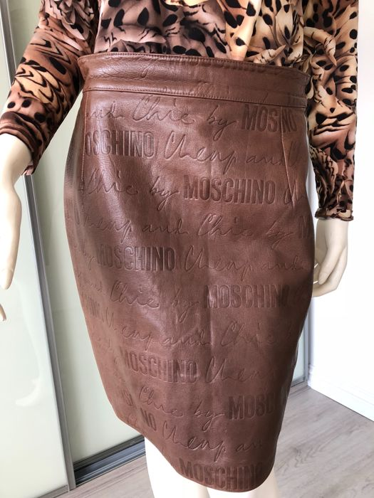 Moschino - Cheap & Chic Leather Embossed Skirt - Vintage