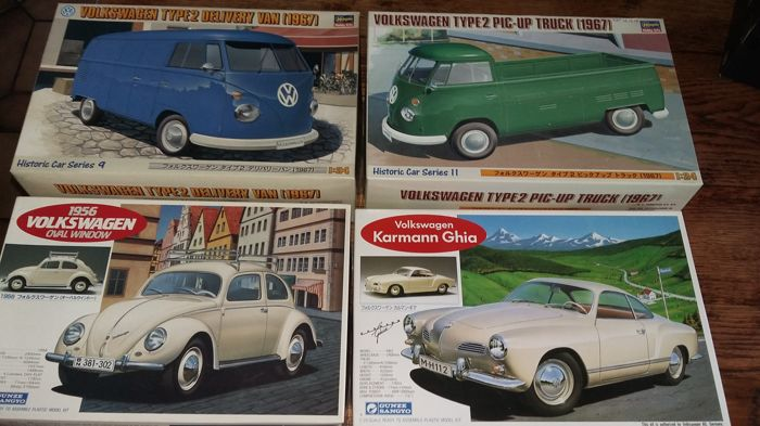 Gunze Sangyo / Hasegawa - Scale 1/24 - Lot of 4 kits: 2 x VW type 2, VW Karmann Ghia and 1 VW cox oval window 1956