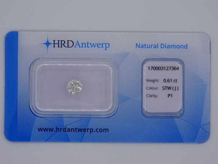 0.61 ct brilliant cut diamond - colour: Slightly Tinted White (J), P1