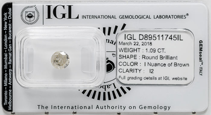 1.09 ct brilliant cut diamond  I / I2   **** No Reserve ****