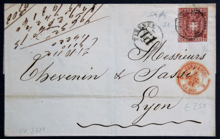 Tuscany, 1860 – Provisional Government, 40 cent carmine on letter to Lyon - Sass. N. 21