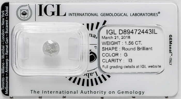 1.56 ct brilliant cut diamond  G / I3   **** No Reserve ****