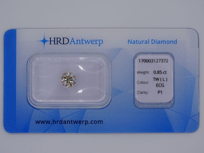 0.85 ct brilliant cut diamond - colour: Tinted White (L), P1