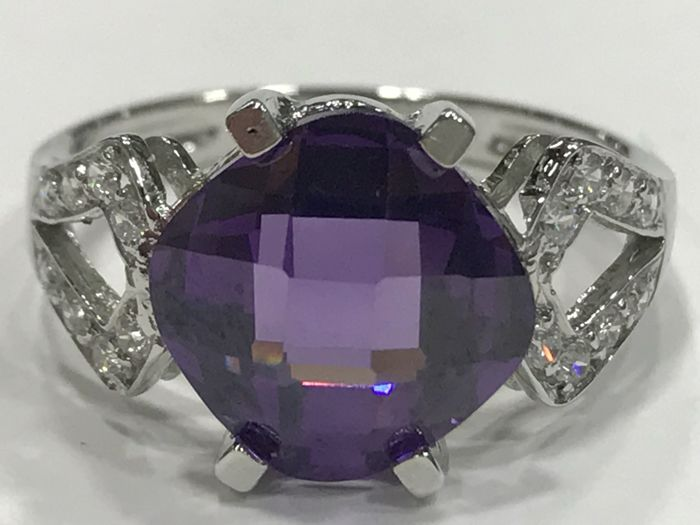 Cocktail Ring - 18 kt White Gold - Amethyst - Size: universal 15 (Spain)