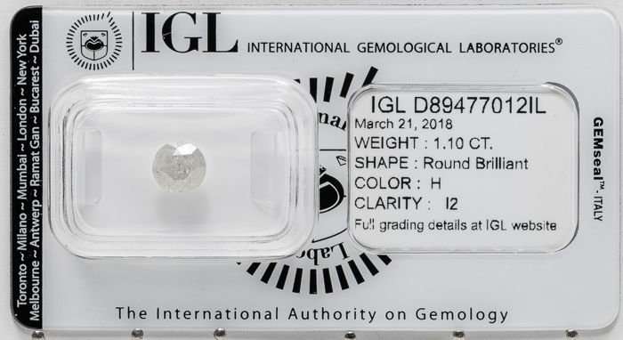 1.10 ct brilliant cut diamond  H / I2   **** No Reserve ****