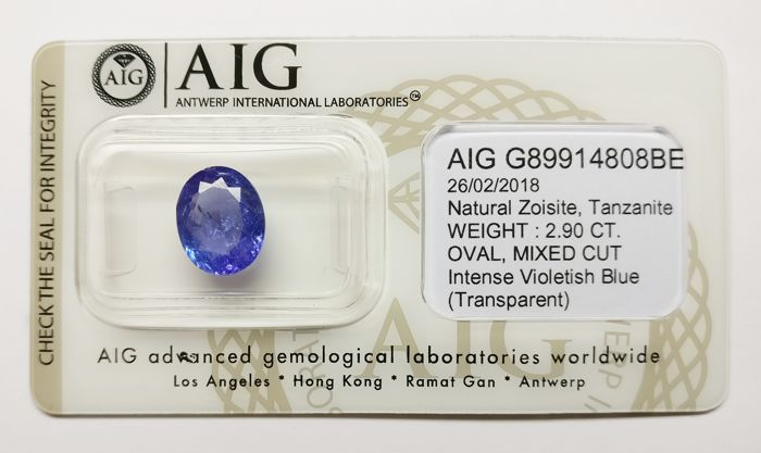 Tanzanite Intense Violetish Blue 2.90 ct