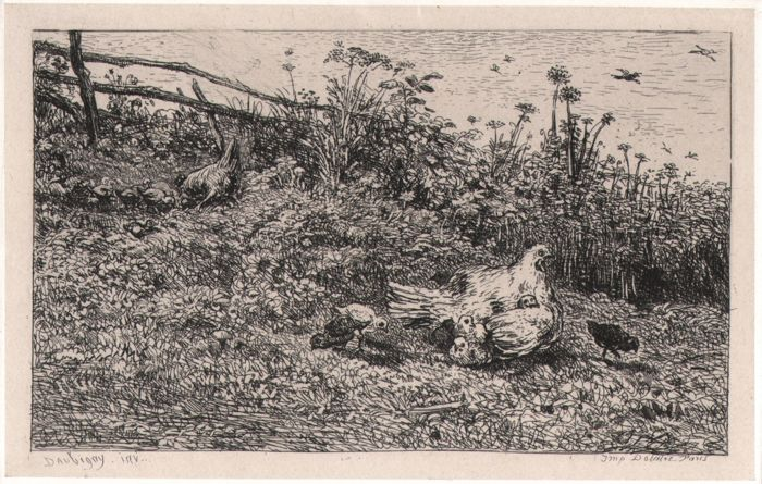 Charles Francois Daubigny (1817-1878 ) - The Hen and Her Chicks