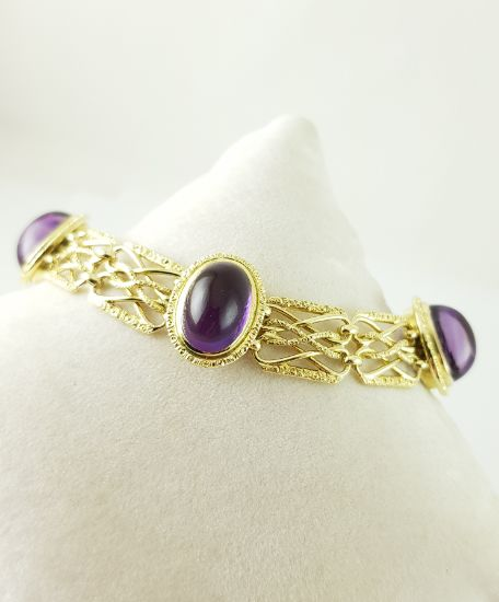 Amethyst bracelet - 4 × amethysts - 585‰ yellow gold - length of 18.50 cm