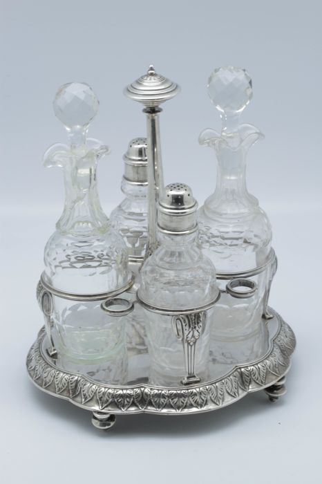 Antique oil and vinegar stand with salt and pepper shakers, sterling silver and crystal - France, 19th century, Napoleon III era