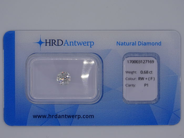 0.68 ct brilliant cut diamond - colour: Rare White (F), P1