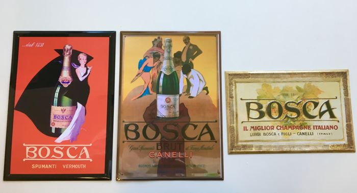 Lot composed of three metal advertising signs in relief from the 1990s