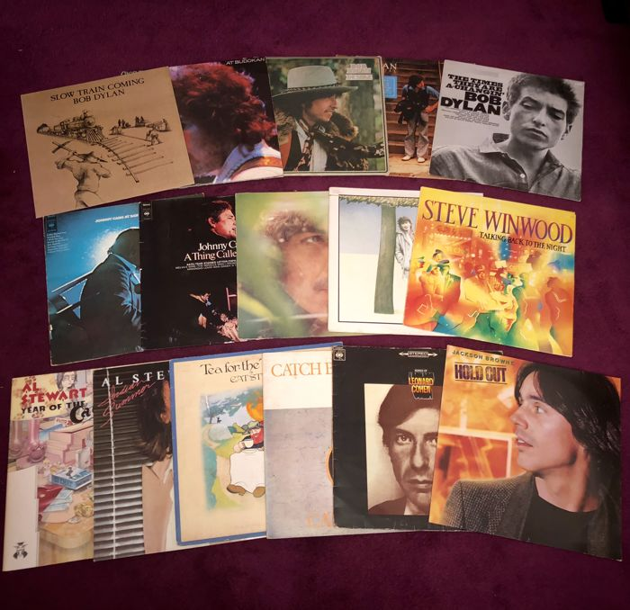 Lot of 16 Great Singer/Songwriters Of The 70's and 80,'s Lp Albums Incl; Bob Dylan(5x)+George Harrison+Johnny Cash(2x)+Leonard Cohen and more.