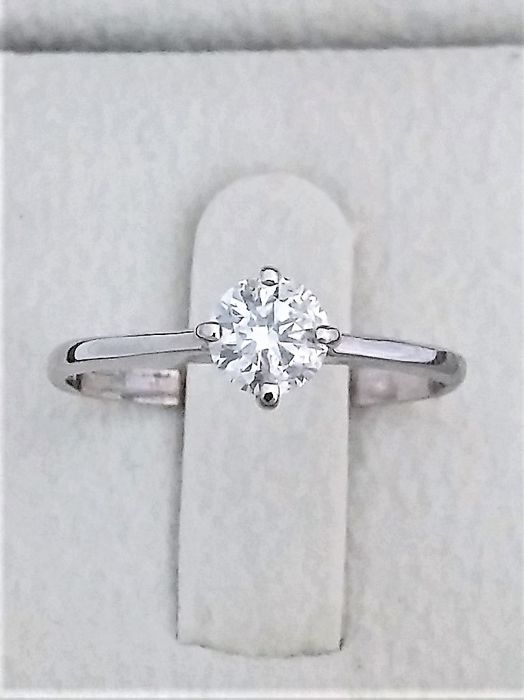 0.56  ct Solitaire Diamond Ring F/SI1 -  14K White Gold   - size (56 fr )
