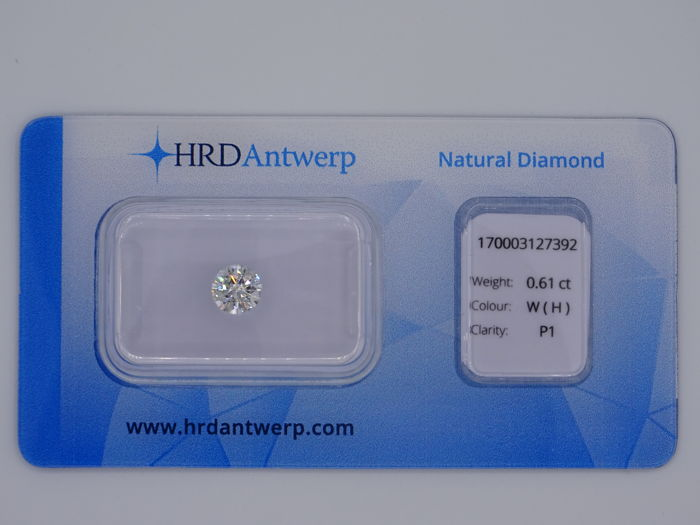 0.61 ct brilliant cut diamond - colour: White (H), P1
