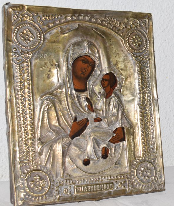 Icon Mother of God with oklad - Russia - first half of 20th century