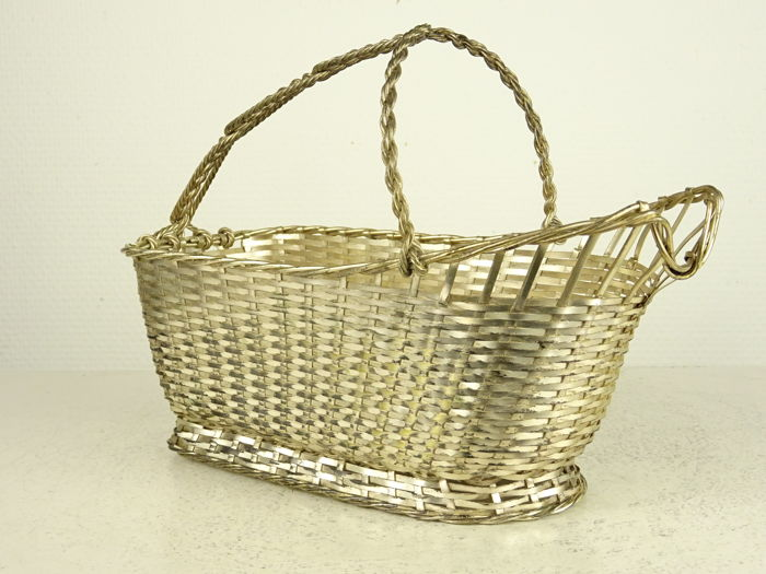 Silver plated Christofle wine basket, France, Second Half 20th Century