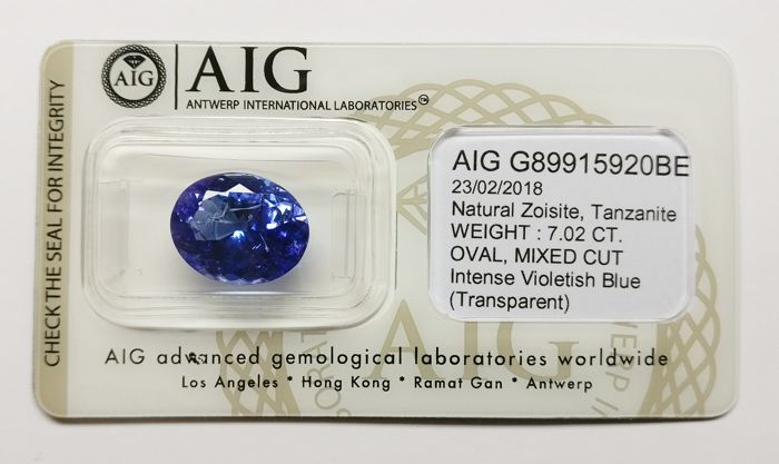 Tanzanite Intense Violetish Blue 7.02 ct