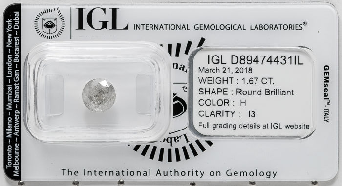 1.67 ct brilliant cut diamond  H / I3   **** No Reserve ****