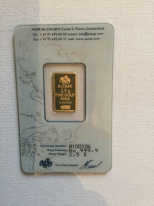 2.5g Pamp Suisse Minted Gold Bar