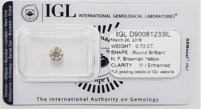 0.70ct Natural Round Brilliant Cut Diamond Fancy Brownish Yellow I1 - No Reserve!