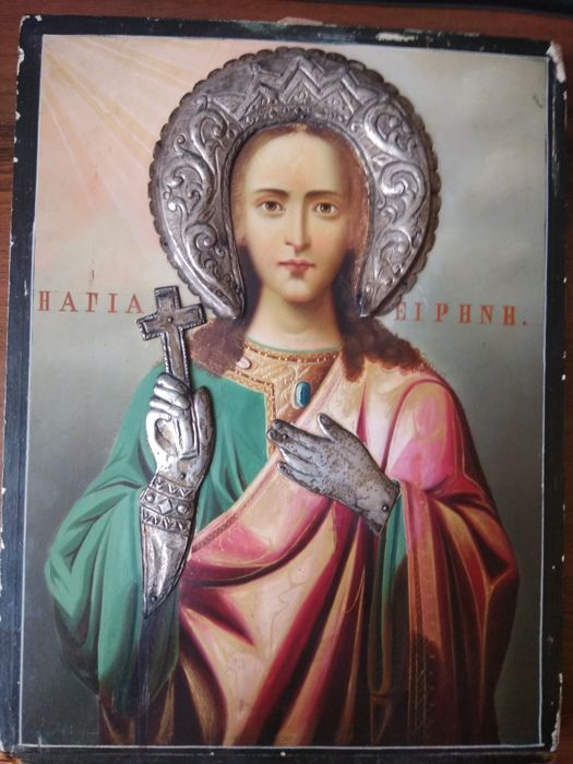 Greek icon - St. Iren of Cappadocia - early 20th century
