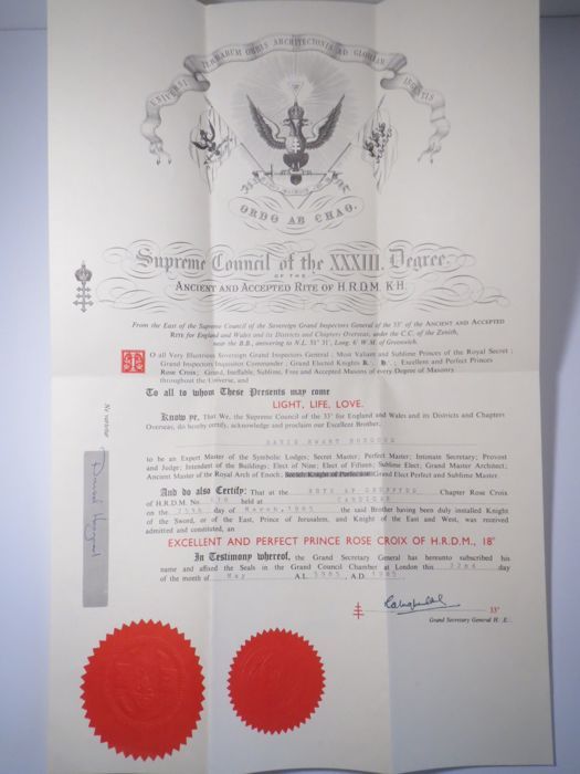 Masonic initiation certificate Supreme Cousil Degree Ancient and Accepted Rite 1985