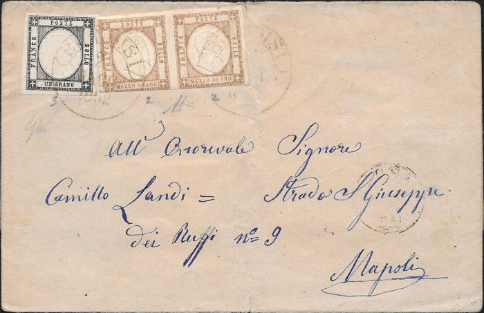 Neapolitan Provinces 1862 - 1/2 gr. brown, pair and 1 gr. black on letter from Brindisi to Naples - Sassone Nos  18/19