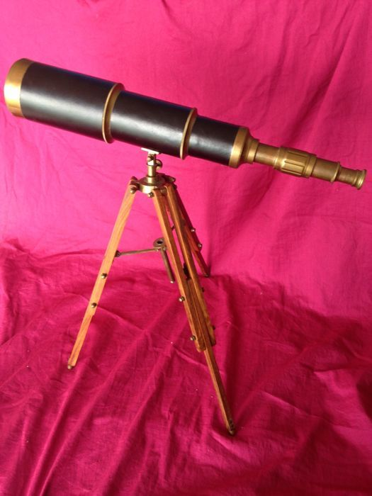 Vintage telescope on tripod made of wood - brass, wood and leather - 20th century